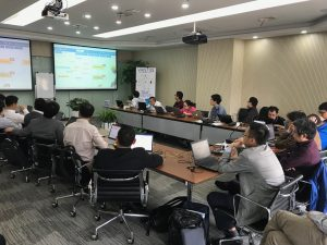 VANTIQ training Chinese men in room with projector