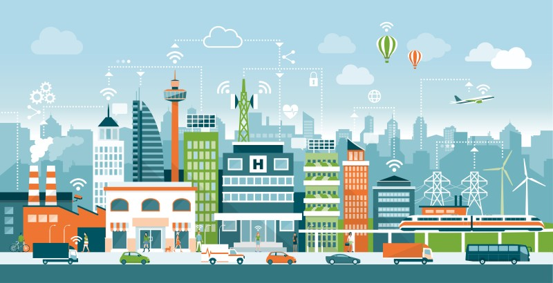 animated smart city with traffic