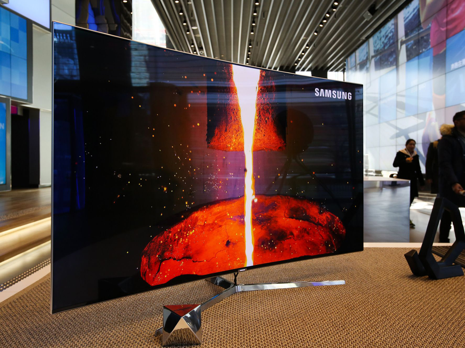 big samsung curved tv at an exhibition