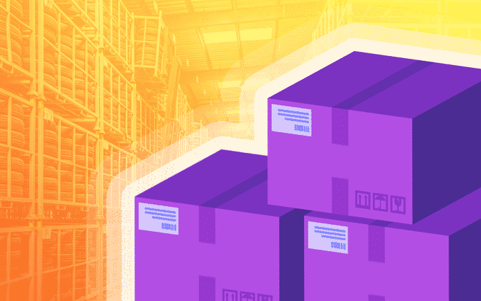 purple cartoon boxes with orange warehouse in background