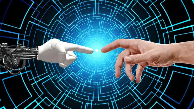 a robot hand pointing to human finger representing the deep connection between AI technology and humans