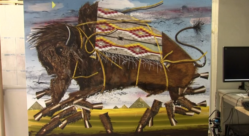 buffalo painting made by robots collaborating with each other