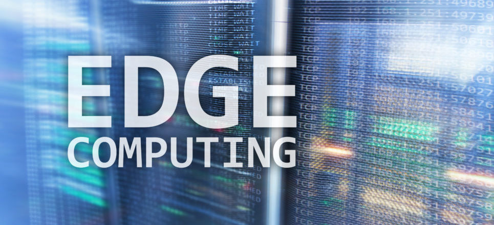 A picture showing edge computing words with code in the background