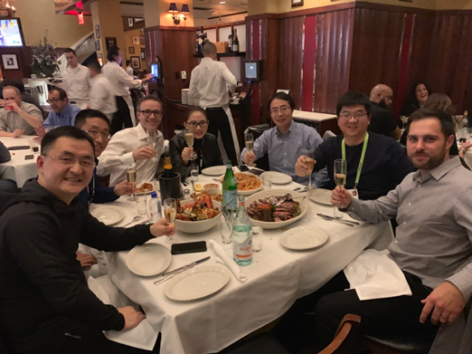 Blaine Mathieu and David Sprinzen dining with Lenovo executives after CES 2019 event in Las Vegas