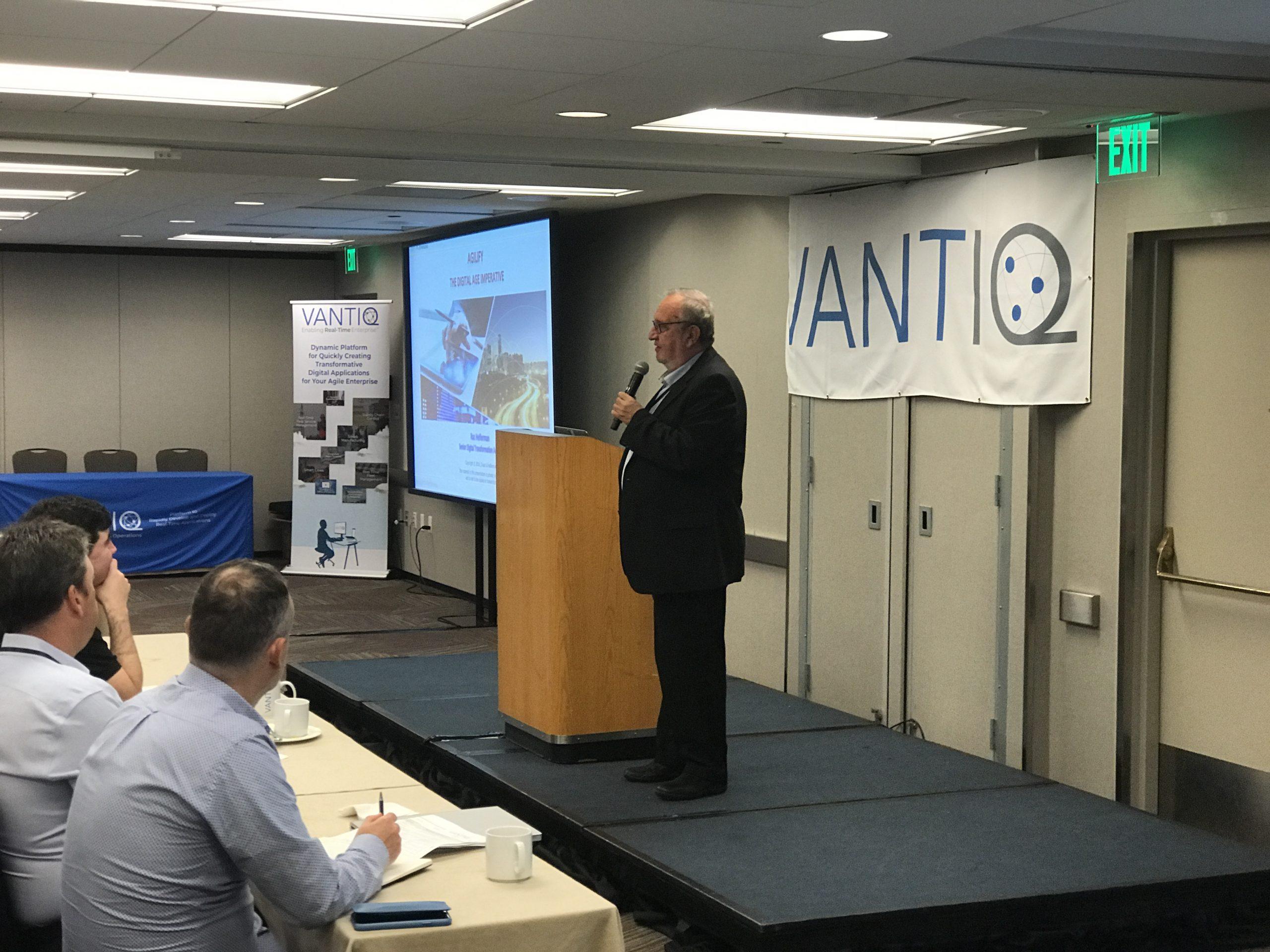 Digital Transformation Guru Raz Heiferman give speech about '4 Forces Feamwork for Agilification' at 2018 VANTIQ Global Partner Summit in San Francisco