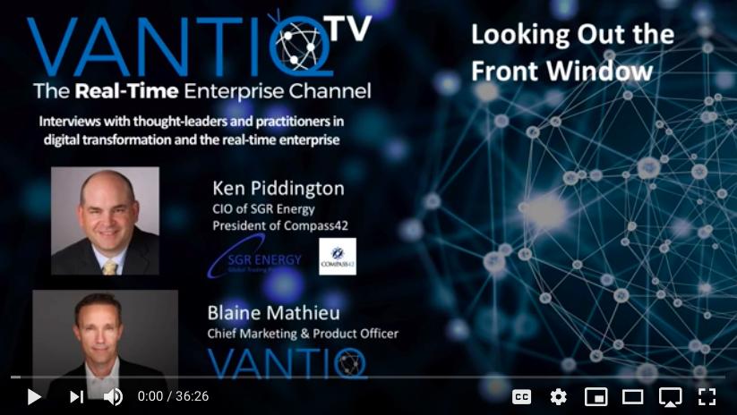 VANTIQ TV-guest speaker Ken Piddington CIO of SGR Energy President of Compress42, looking out the front window