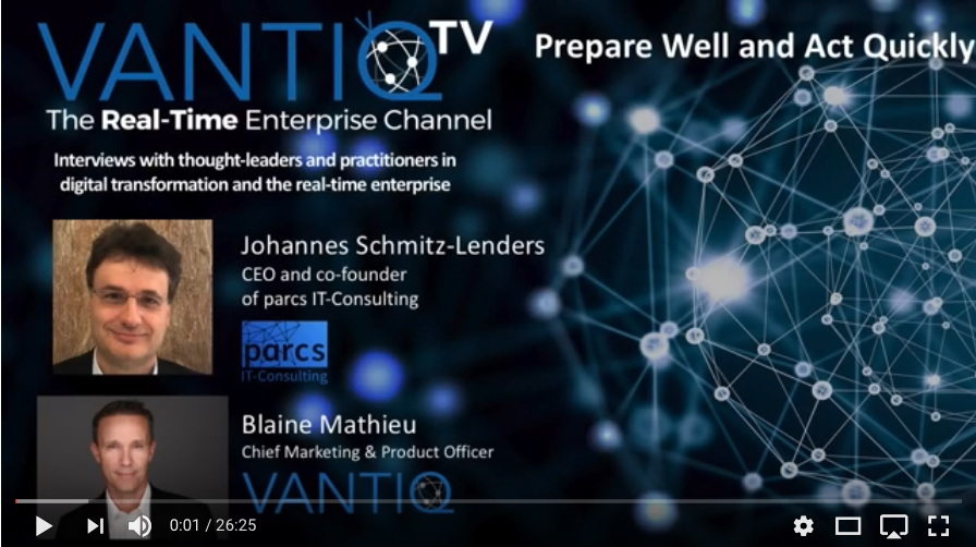 VANTIQ TV-guest speaker Johannes Schmitz-Lenders, CEO and co-founder of parcs IT-Consulting, Prepare well and Act Quickly