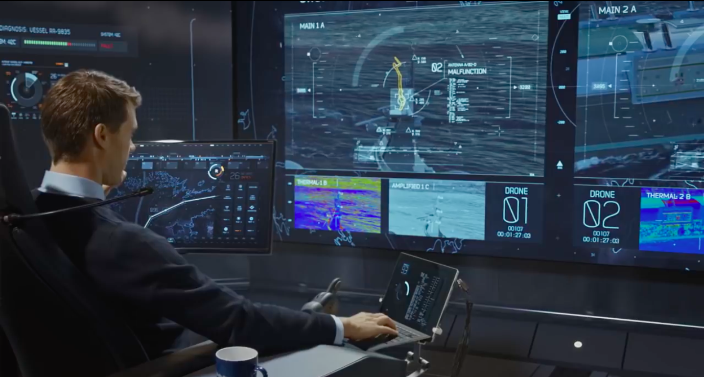a developer monitoring the status of ships in real time with many monitors