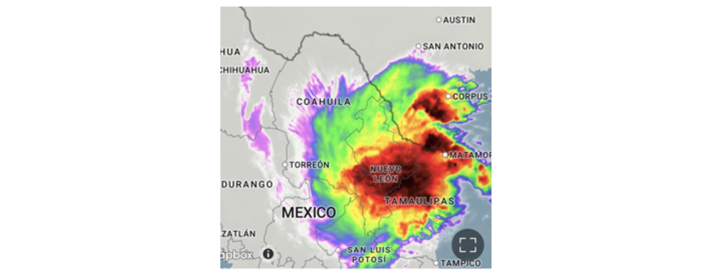 radar image of large rain storm over Monterrey Mexico