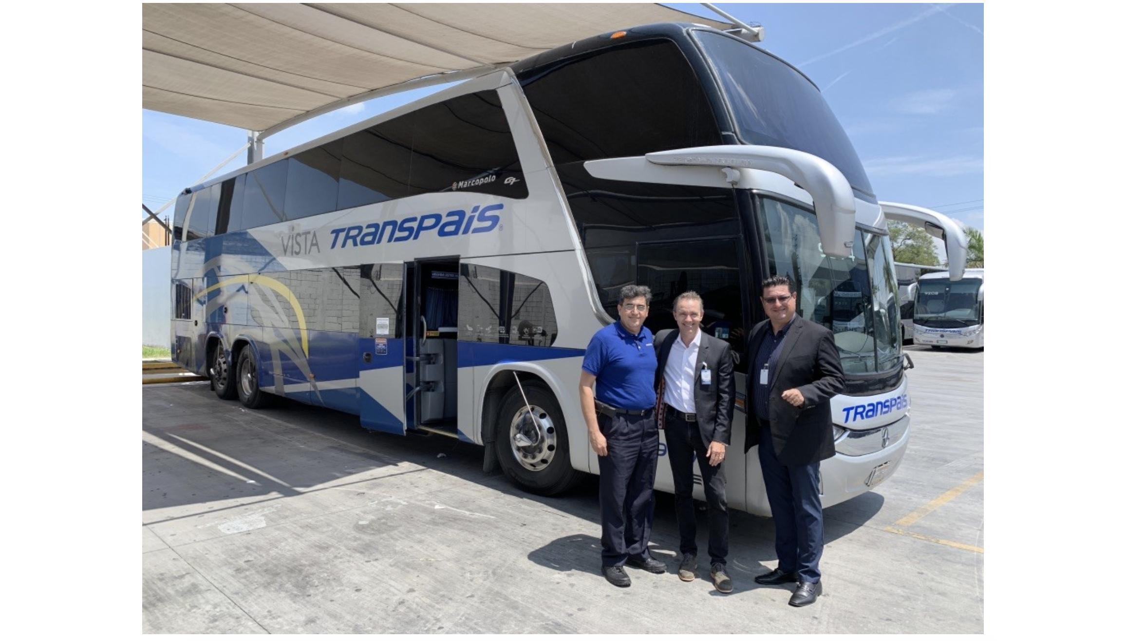 VANTIQ CMO Blaine Mathieu in front of high tech luxyury Transpais bus