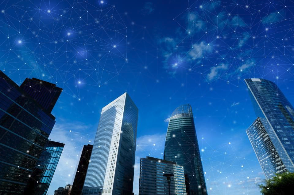 skyscrapers connected by iot sensors