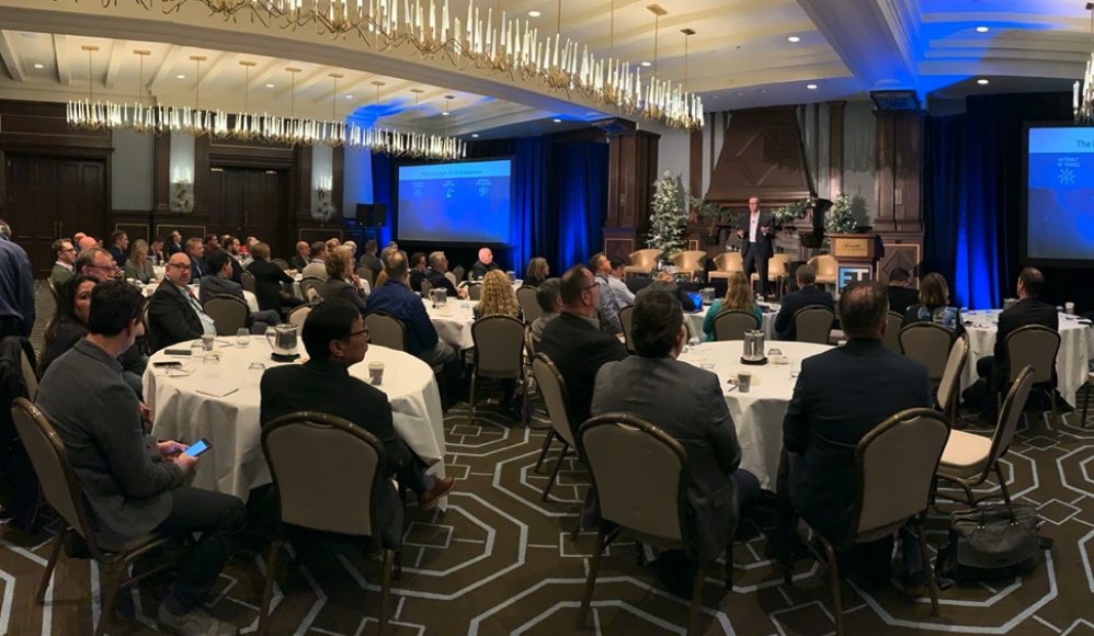 Blaine Mathieu, VANTIQ CMO, delivering a keynote early in the event to set up future discussions around IoT and AI-enabled real-time applications