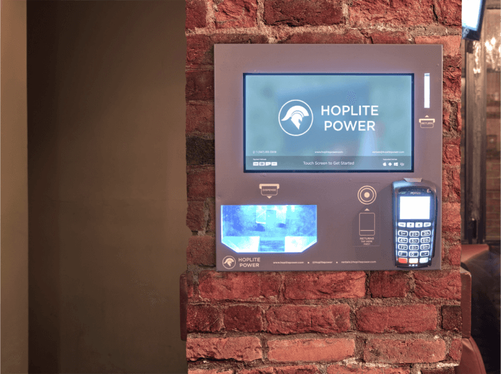 a display of what hoplite power's device looks like on the wall