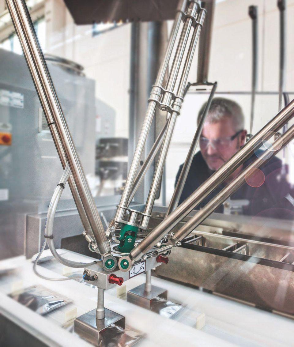 Machine working under worker's observation