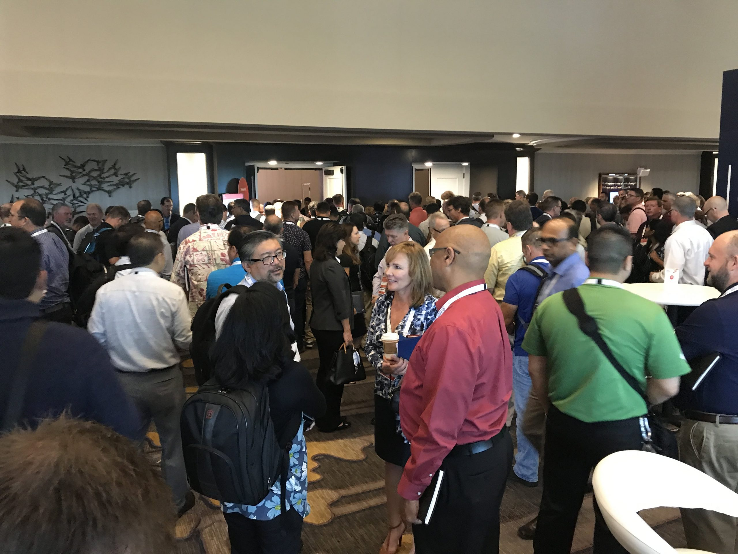 People lining up to get in to Gartner analyst Kyle Davis' keynote speech