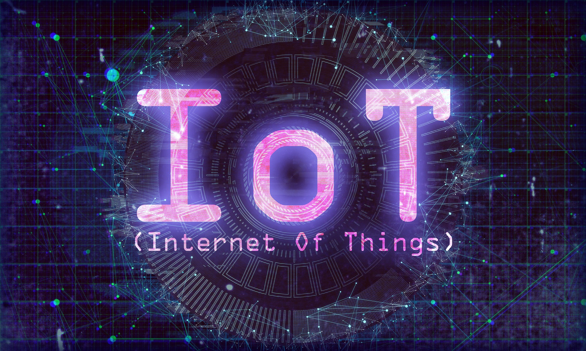 pink words IoT, internet of Things on dark background