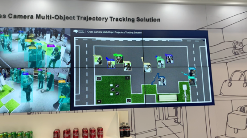 horizon robotics booth showing how they use multi-camera identification and tracking of both known or unknown individuals with their location shown on a real-time map of space at CES 2019