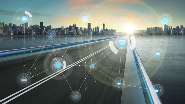 connected smart city showcasing different industries