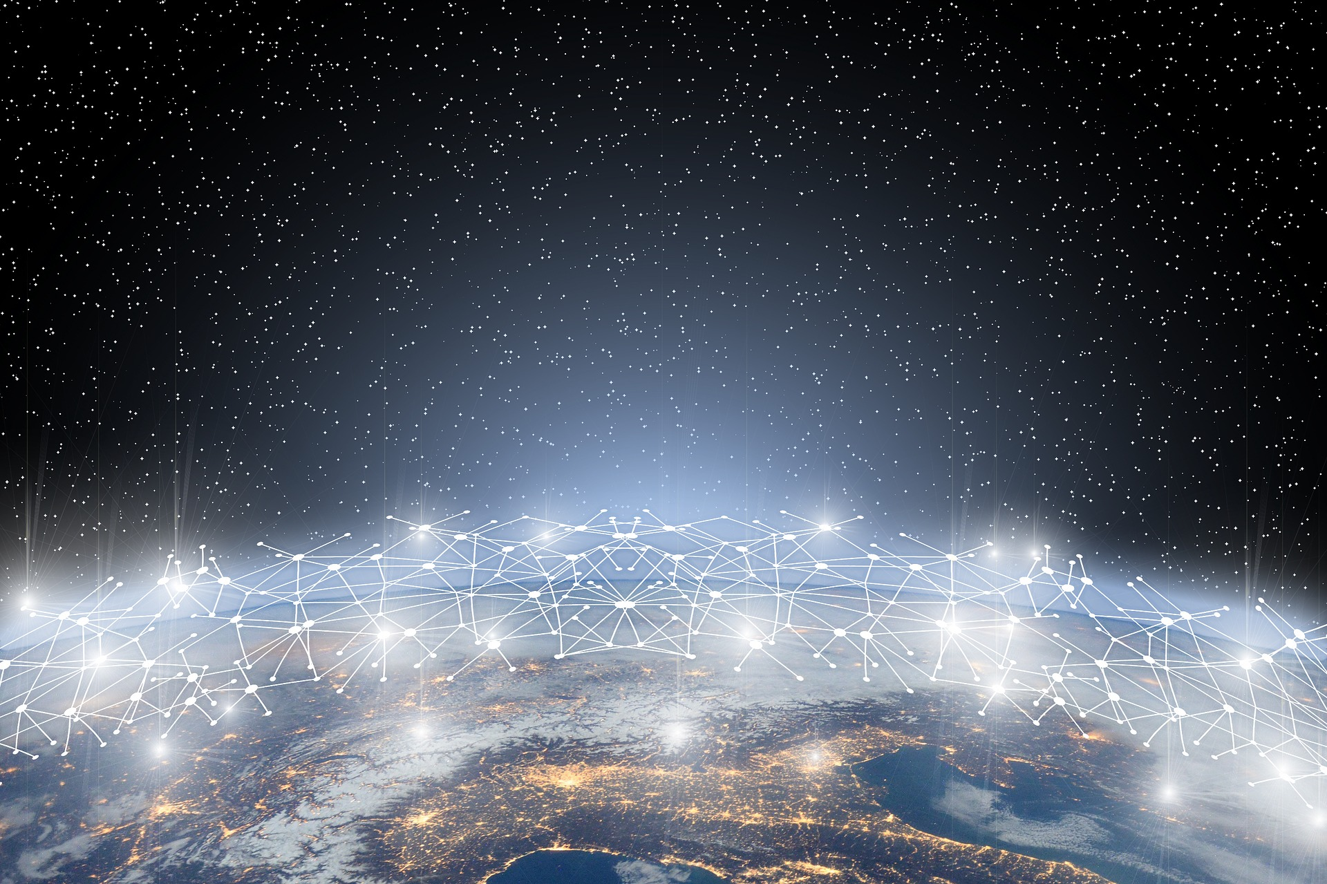 connected world in space