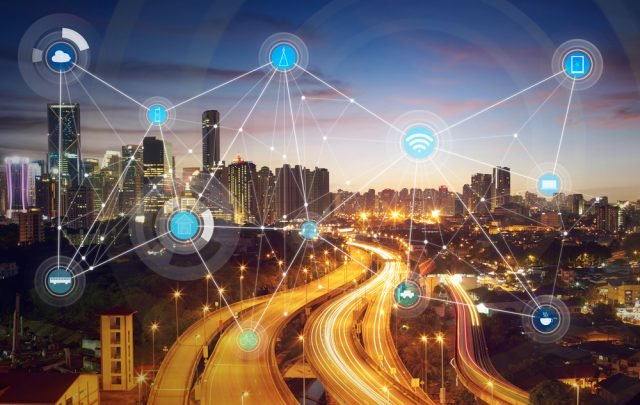 smart city shown with multiple different sensors