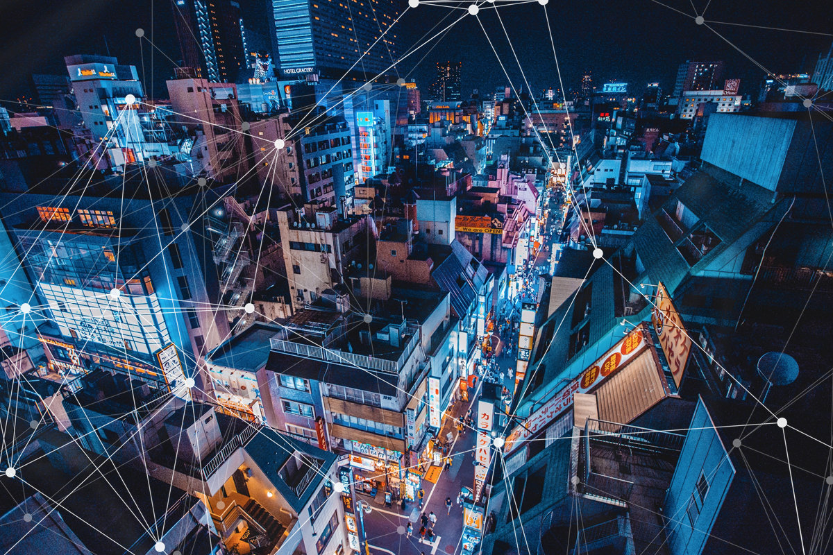 smart city at night in tokyo japan