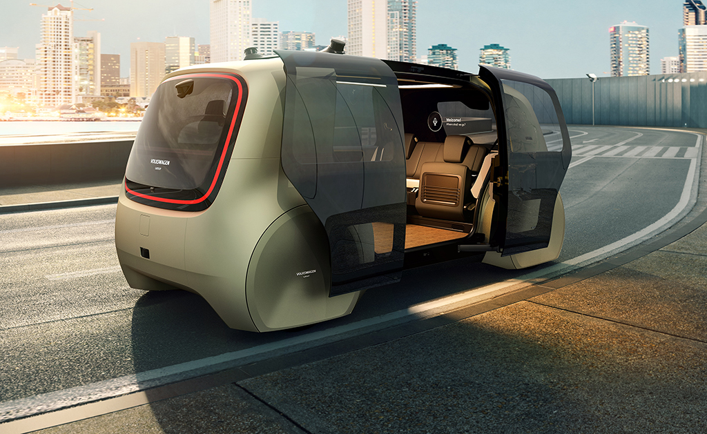futuristic self driving volkswagen car