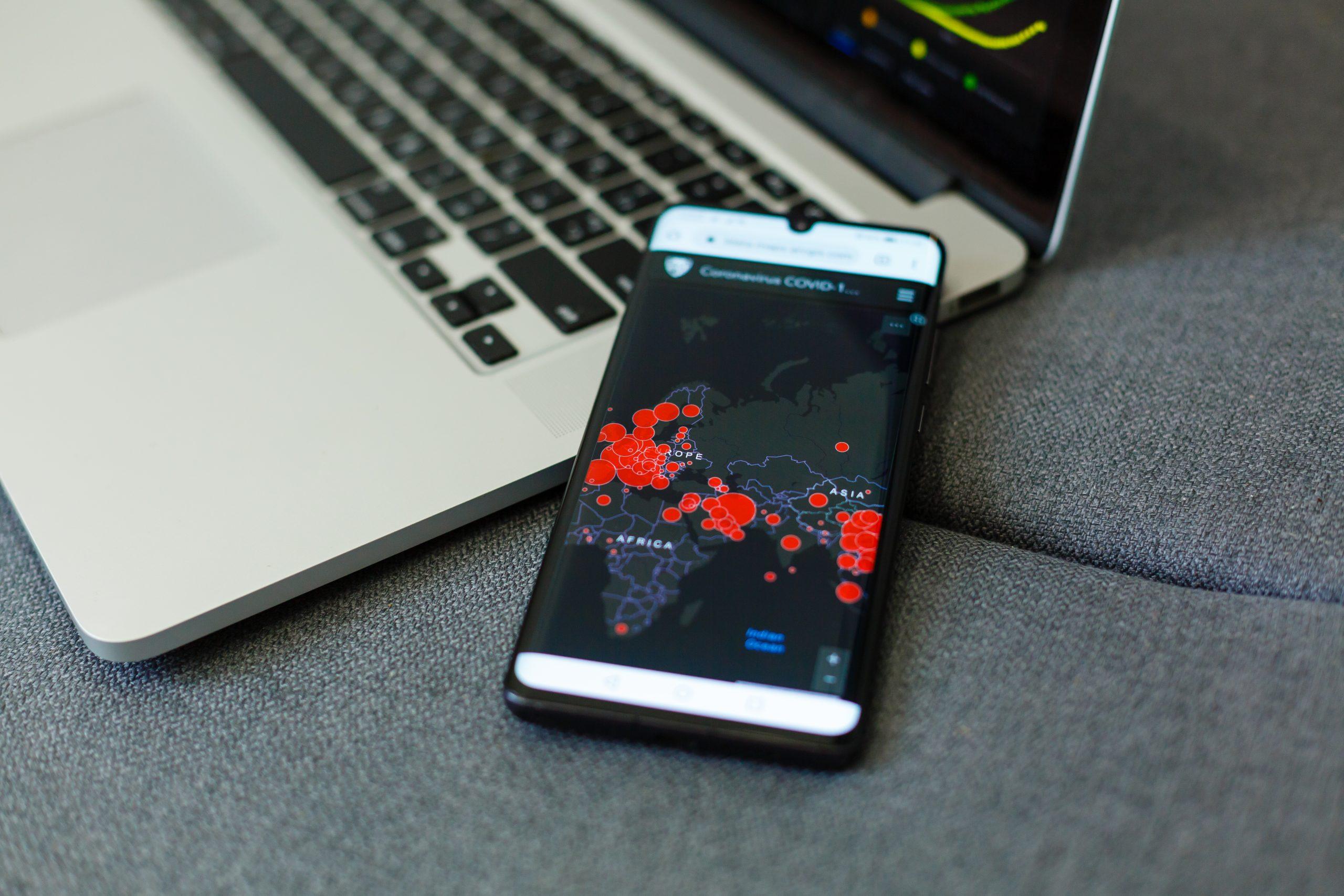 coronavirus tracking application on mobile phone