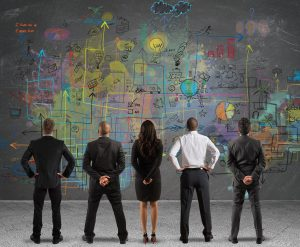 employees brainstorming digital transformation project