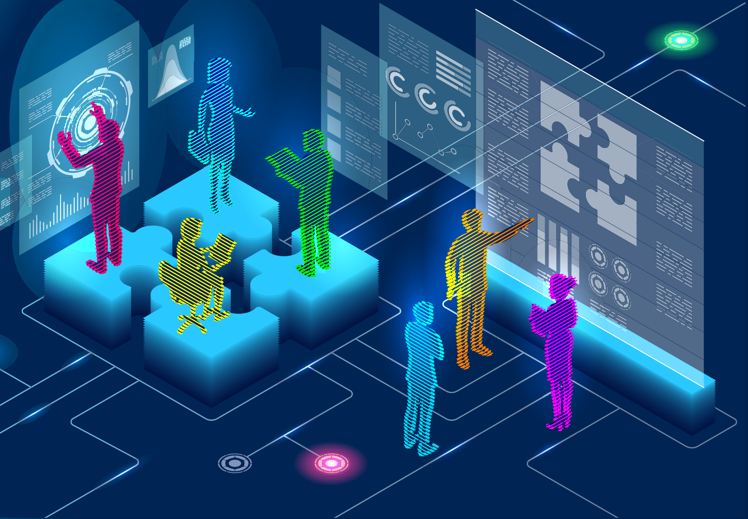 illustration of people augmenting screens