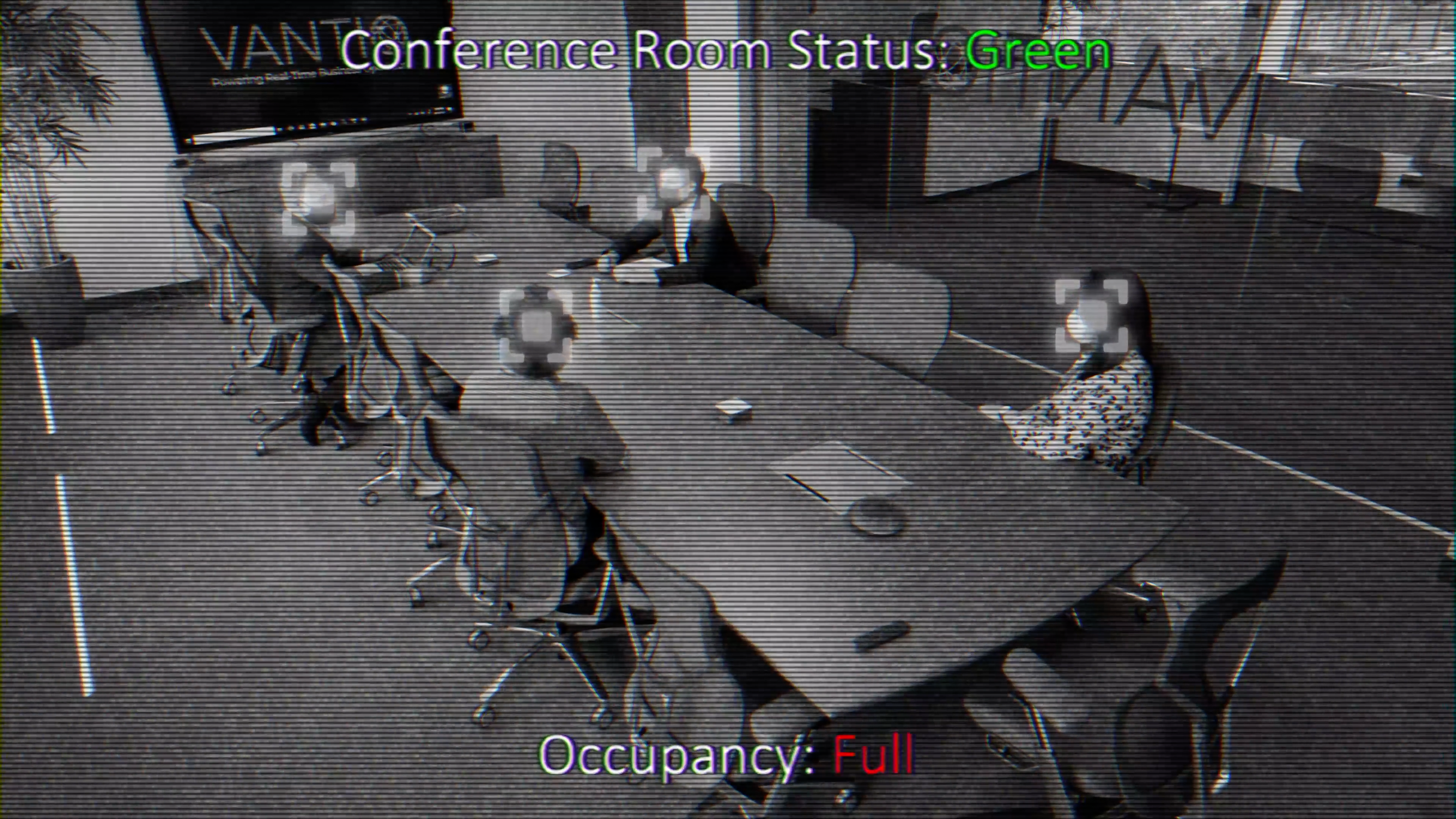 smart office conference room camera feed wit
