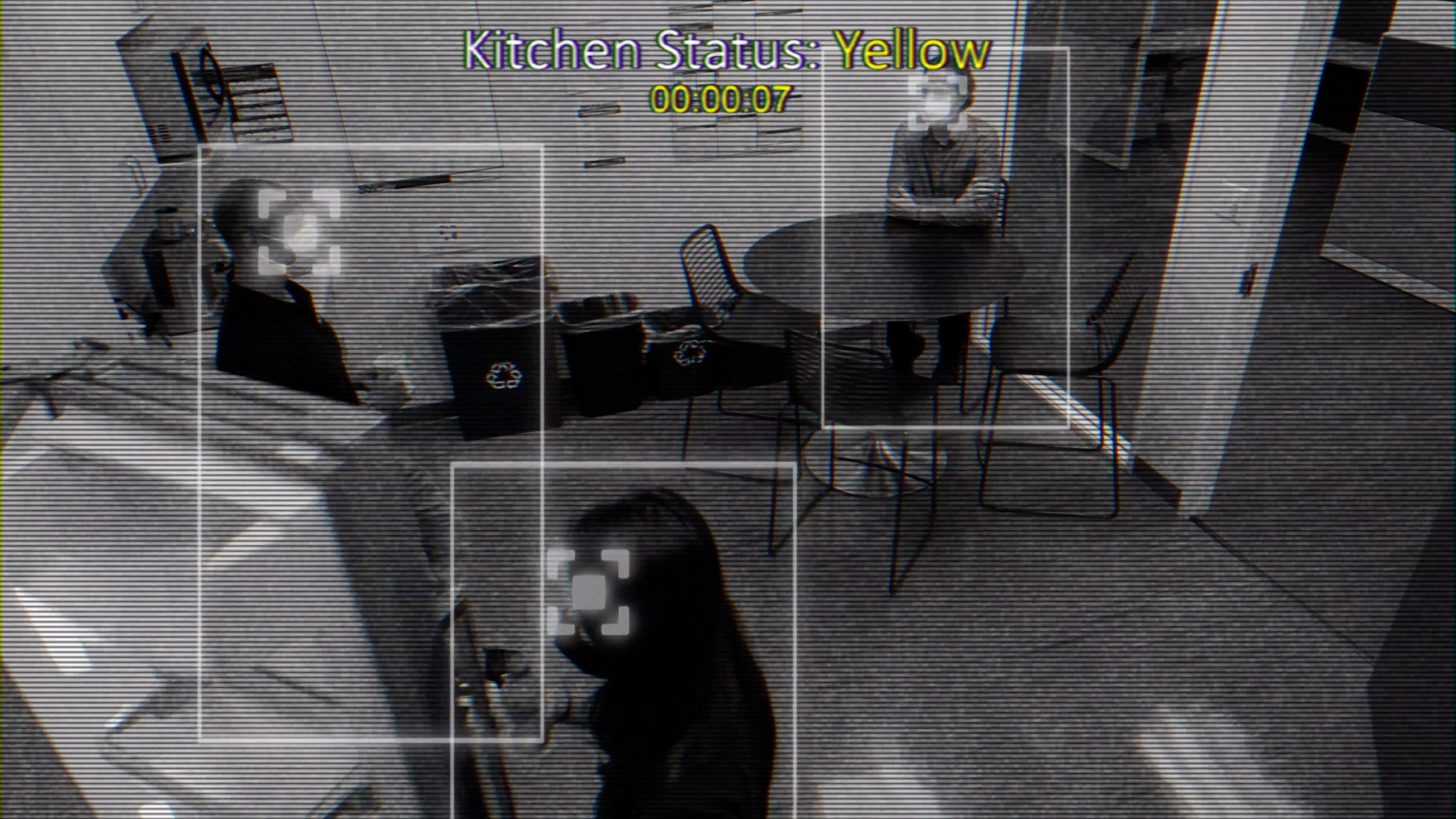 Kitchen camera with people with bounding boxes