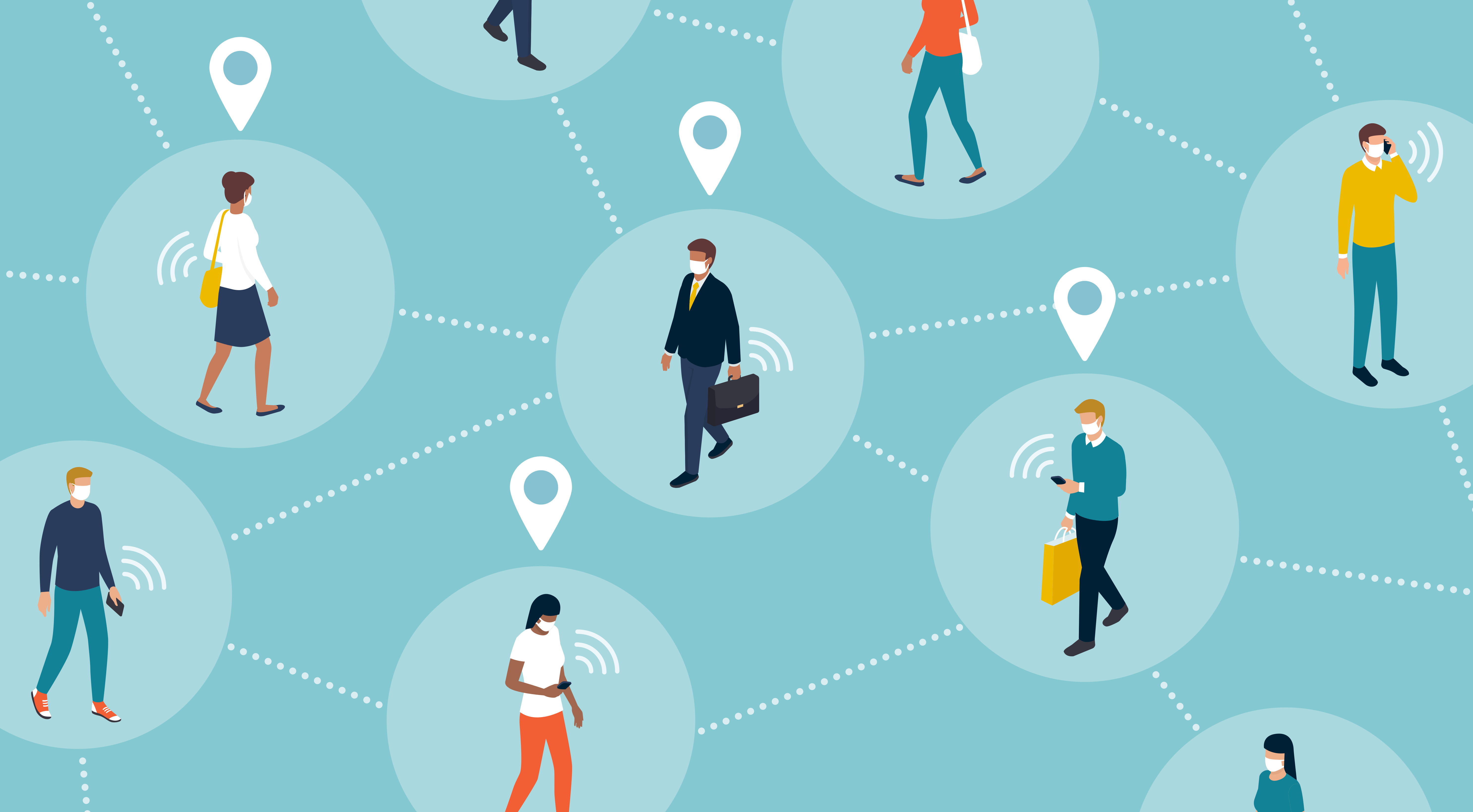 characters walking IoT with lines to devices