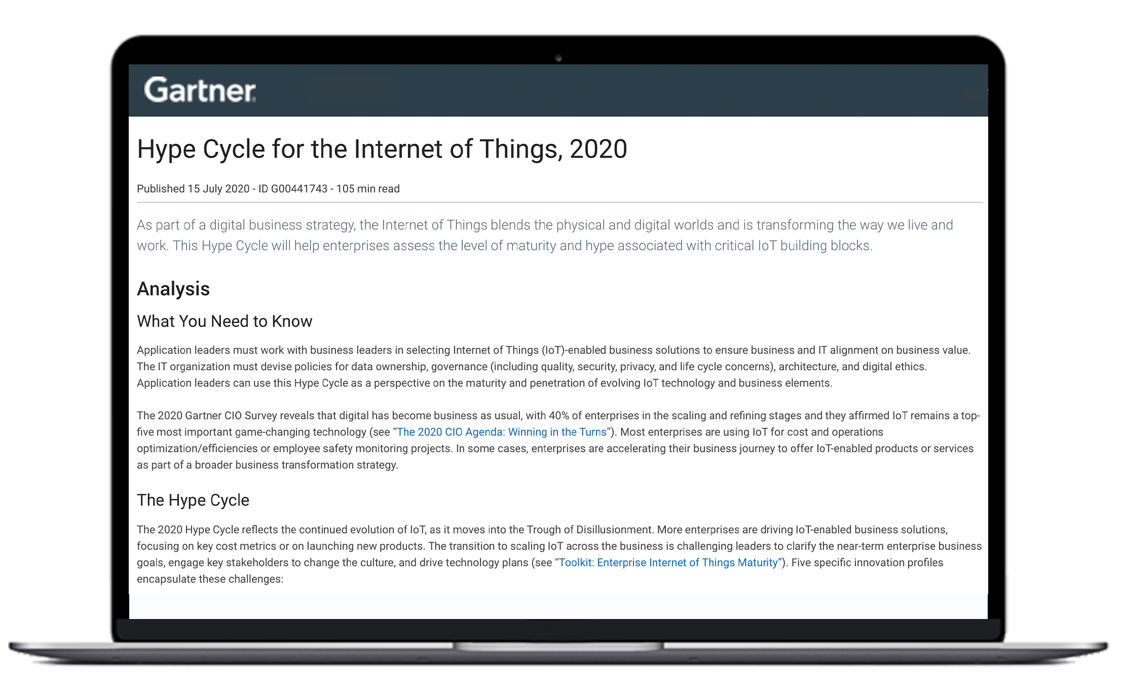 laptop showing preview of gartner iot hype cycle 2020 report
