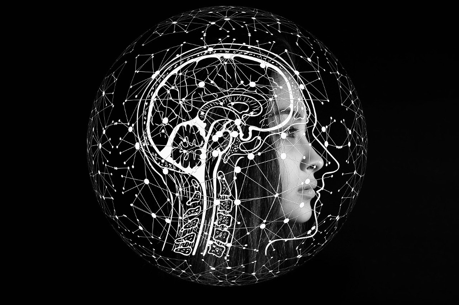 brain surrounded by business events representing artificial intelligence